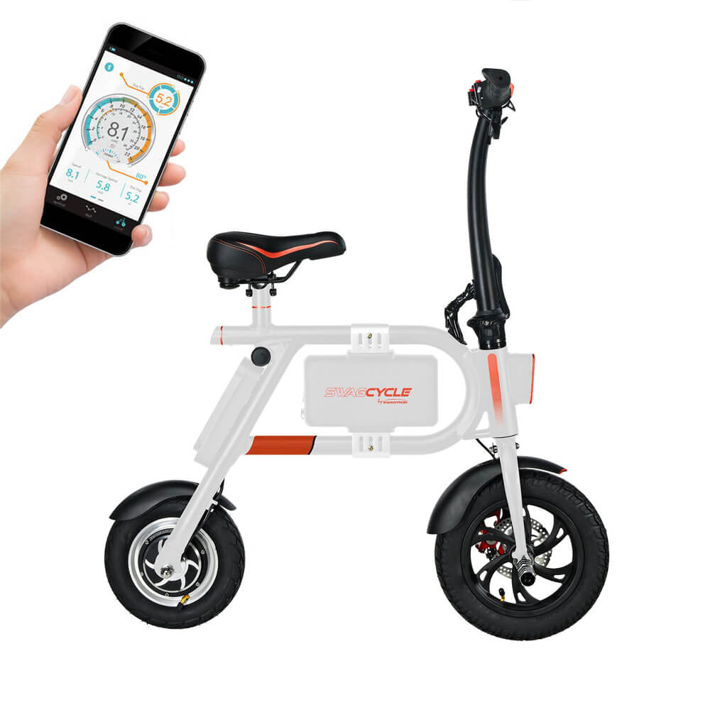 Swagcycle Classic in white with smartphone application