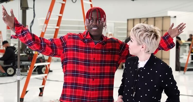 Lil Yacthy and Carly Rae Jepsen on set of Target Grammy Commercial