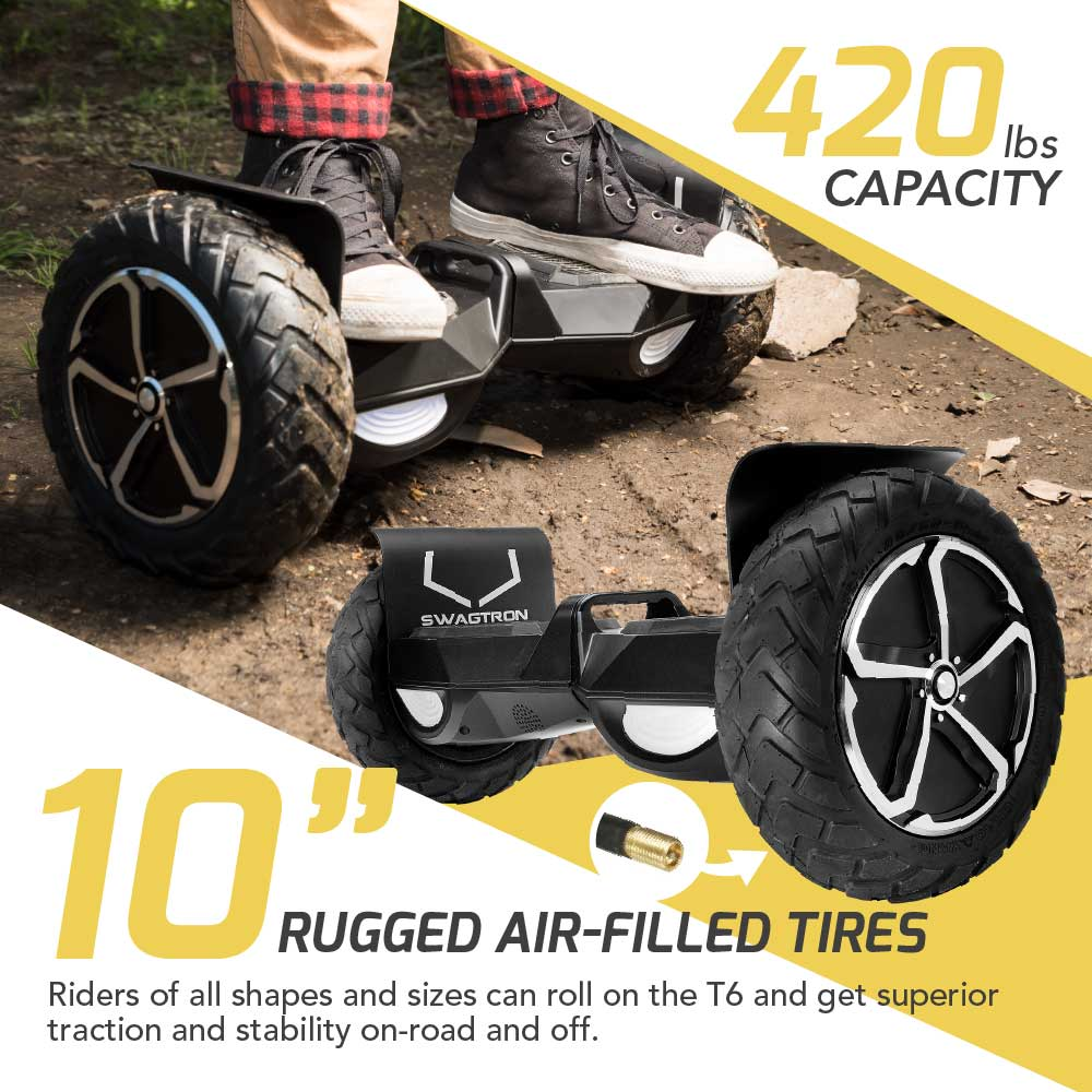 10 inch wheel hoverboard riding on gravel with text for 420 lb weight limit