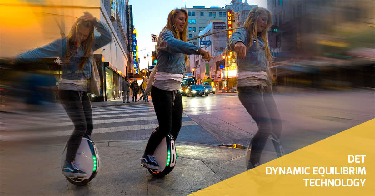 Dancing girl on a swagtron electric unicycle