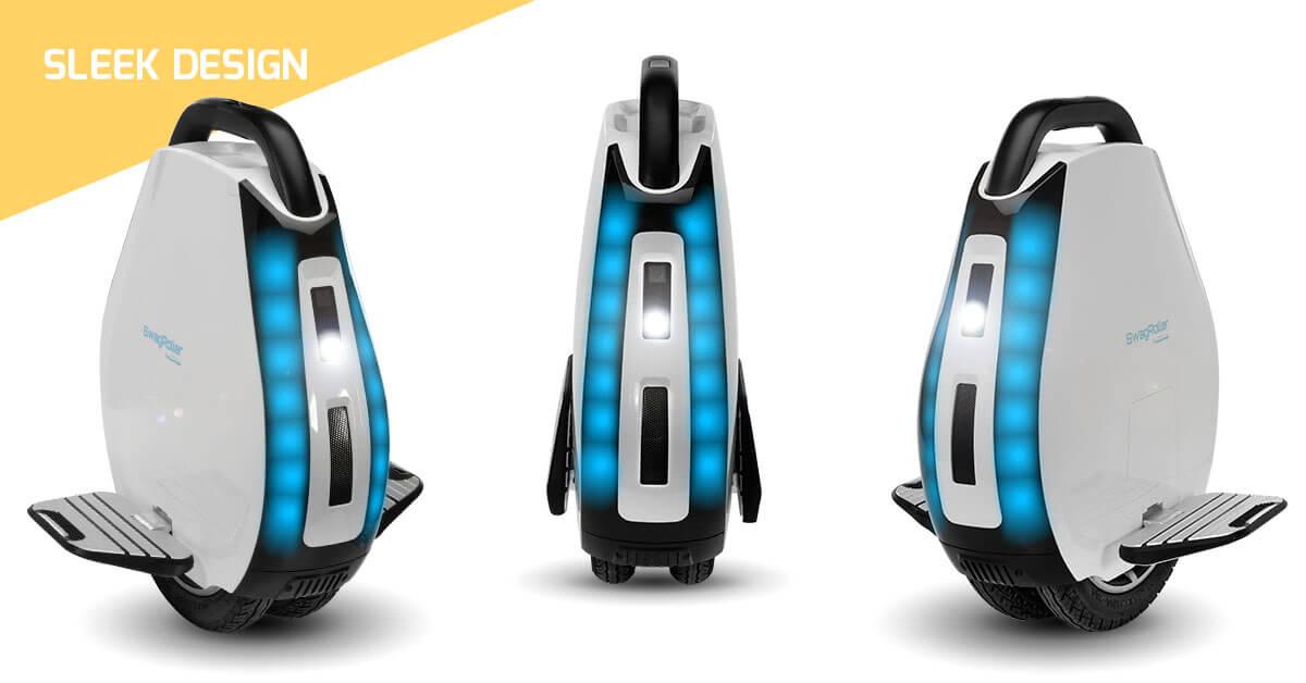 Sleek design of the Swagtron electric unicycle