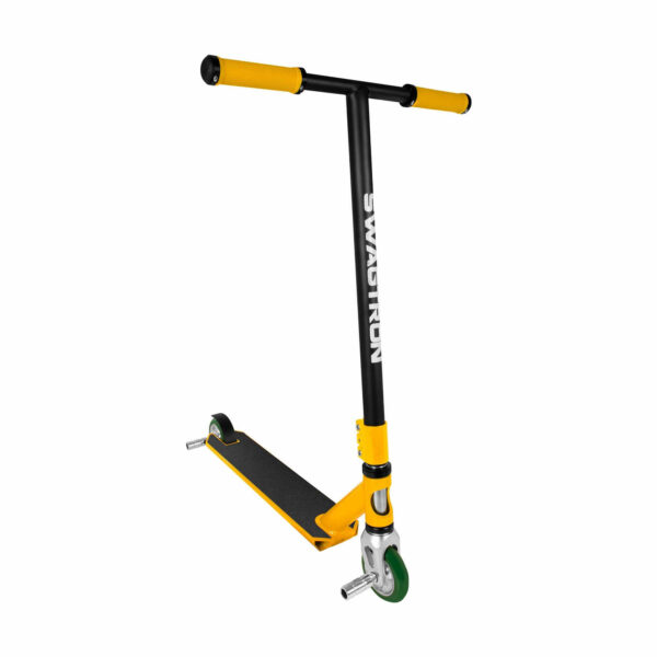 Swagtron black and yellow stunt scooter with pegs