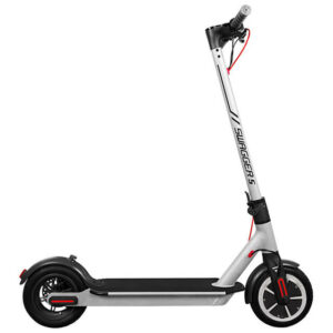 SIlver electric city scooter on a white background