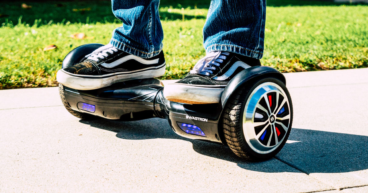 Close up of the Swagboard Twist T882 with LED wheels, the official hoverboard of the Chicago Cubs