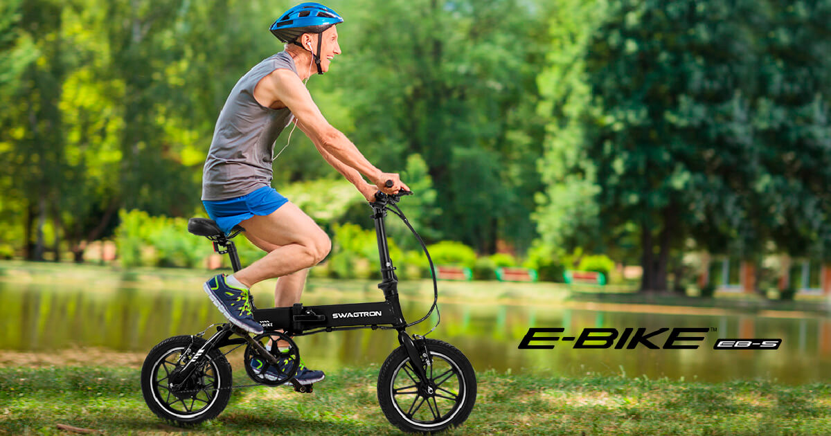 Older gentleman boosting fitness, riding his EB-5 ebike