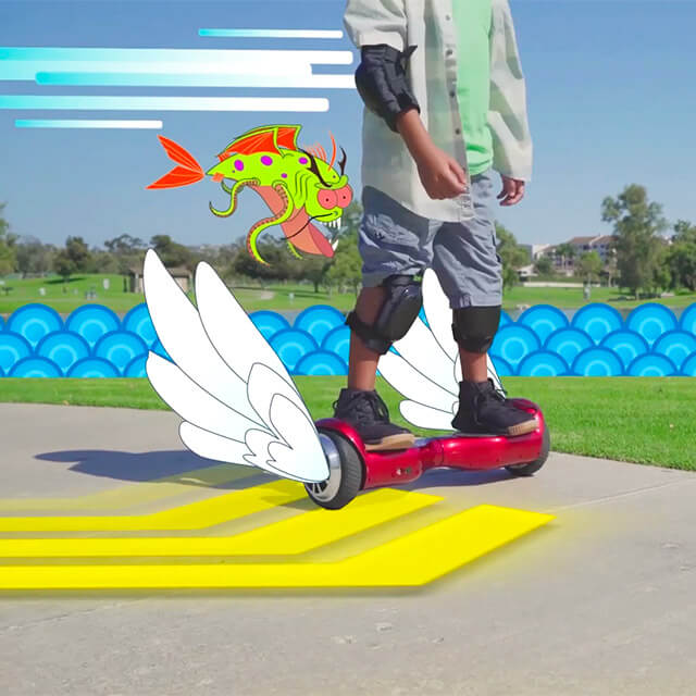 kid riding the swagboard twist red hoverboard in augmented reality
