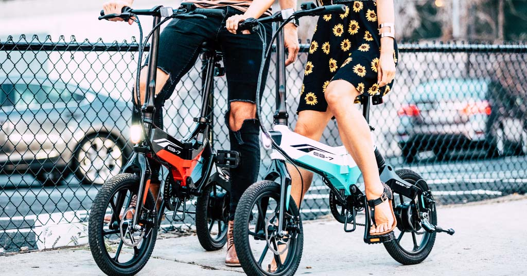 Closeup of couple riding EB7 Elite eBike