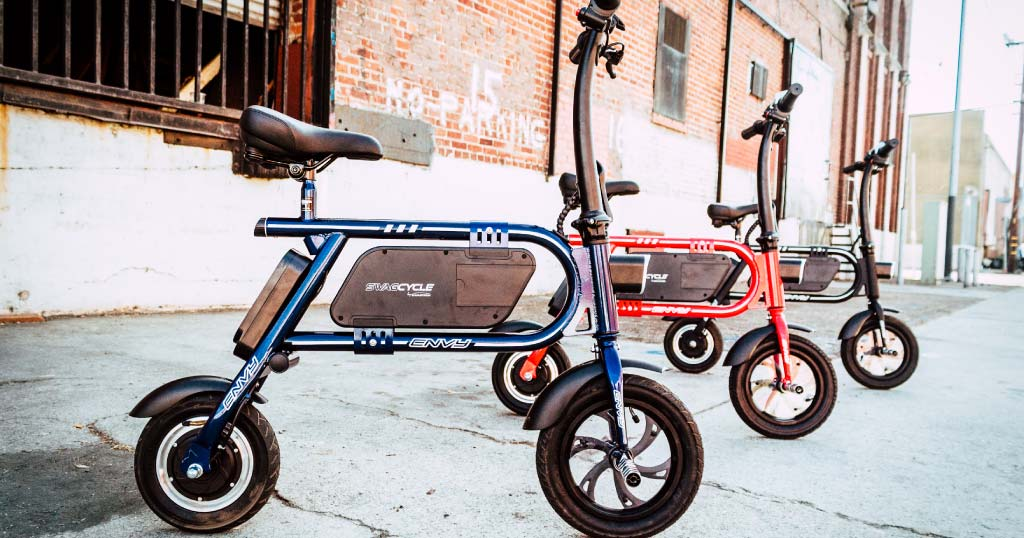 A fleet of Swagcycle Envy no-pedal eBikes