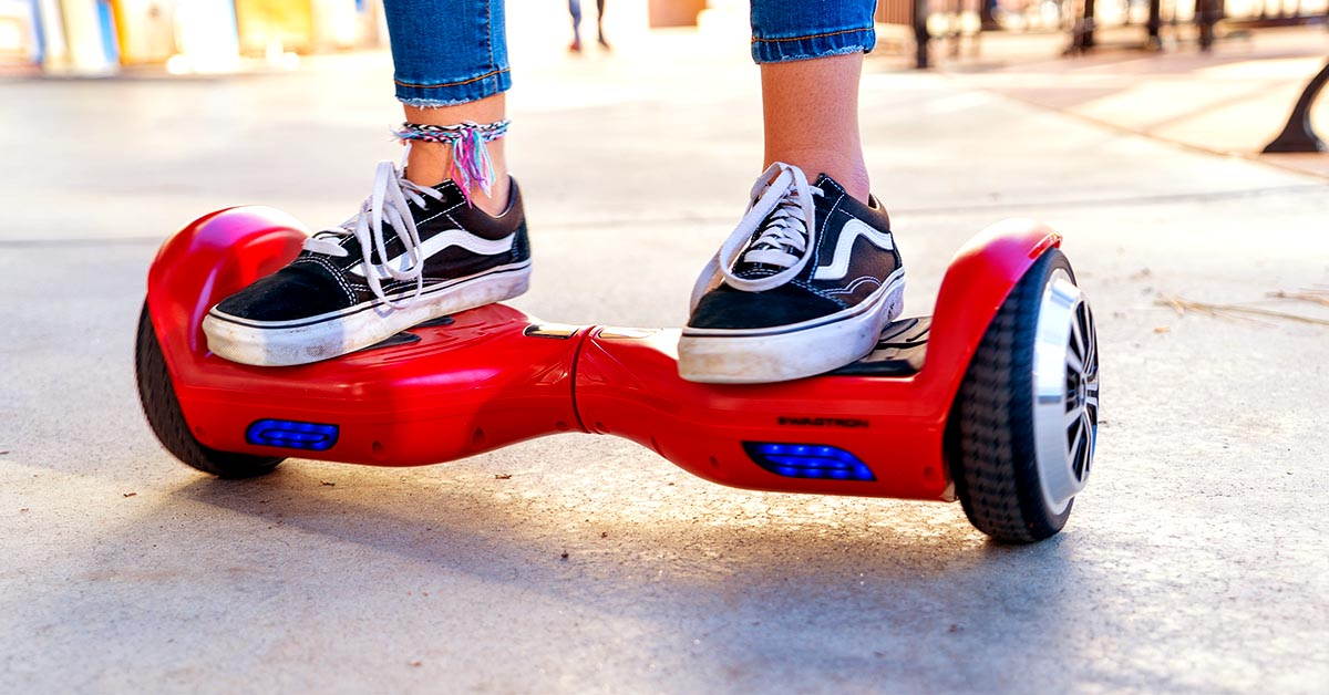 Closeup of someone riding a hoverboard for the How Fast are Hoverboards FAQ