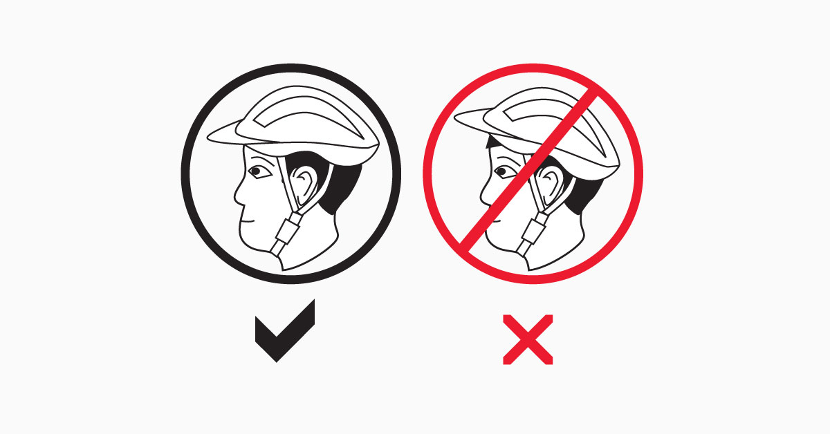 Diagram showing the correct fitting for helmets