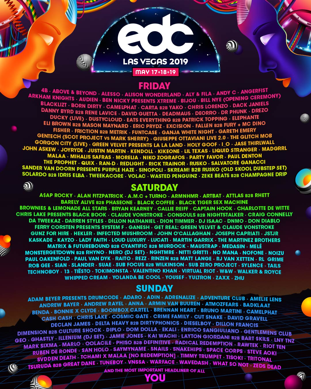 Official Line-Up for EDC - Las Vegas 2019