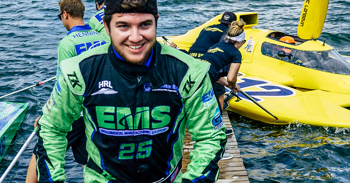 Brandon Kennedy walking from his H8 Cancer Racing boat