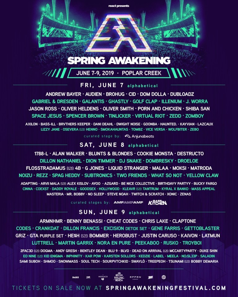 Spring Awakening 2019 Line-Up by day