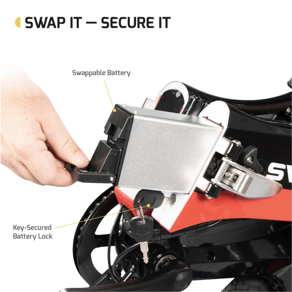 person removing the battery for the EB7 electric bike and replacing it with a swappable bettery