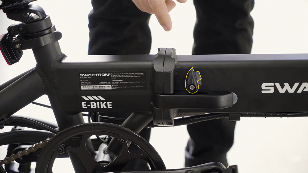 Close-up of the EB5 frame lock and latch