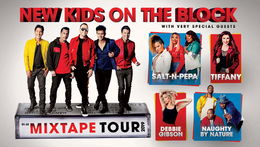 Mixtape Tour advert featuring NKOTB, Debbie Gibson, Tiffany, Salt-n-Pepa and Naughty by Nature.