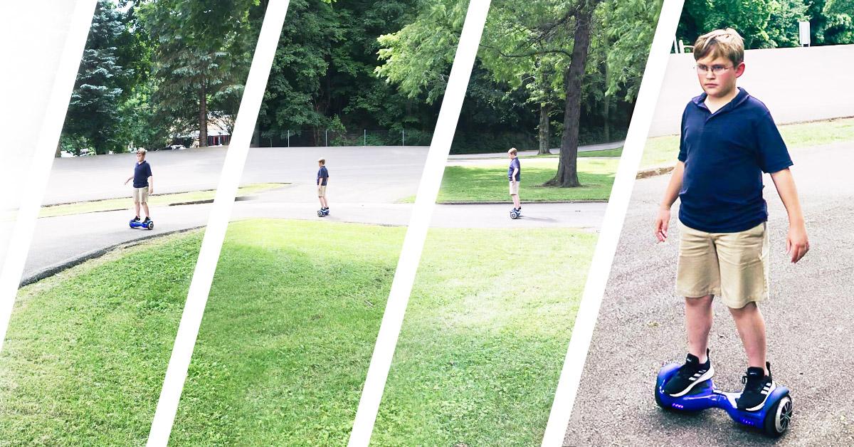 Multiple shots of John wearing helmet, riding his Swagboard Twist