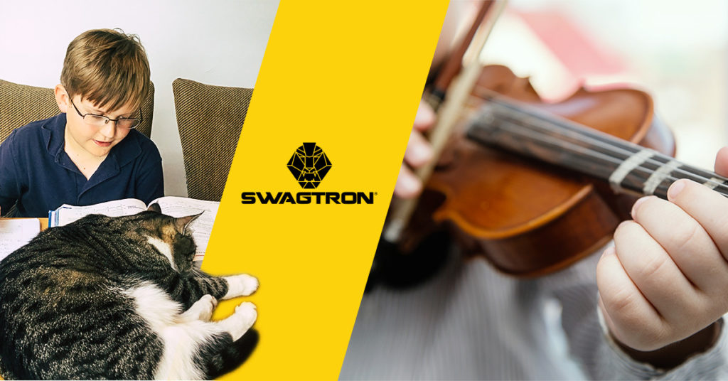 split image of kid studying next to a sleeping cat and close-up of kid playing violin