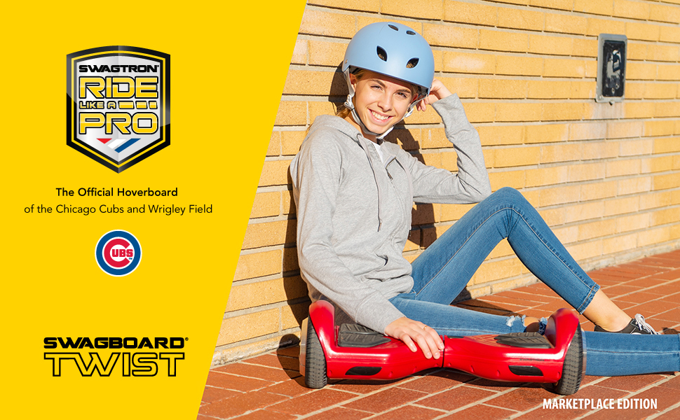 Young lady sitting against a wall next to her Swagboard Twist T881