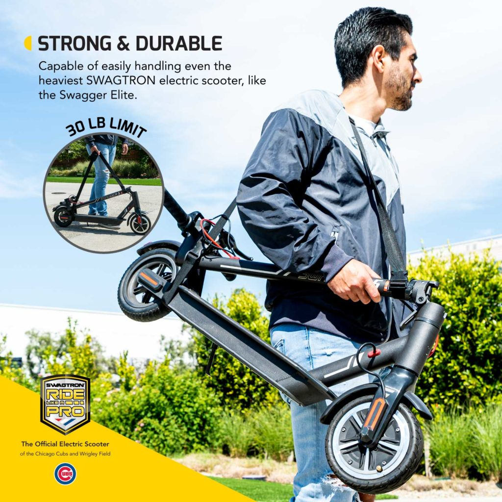 A man carrying his portable folding electric scooter with a shoulder strap from swagtron.
