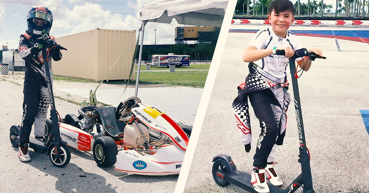 Split-view of Emmo Jr with his mini-race kart and Emmo Jr with the Swagger 5 Elite