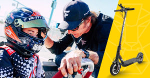 Emerson Fittipaldi with son Emmo and a Swagger 5 Elite