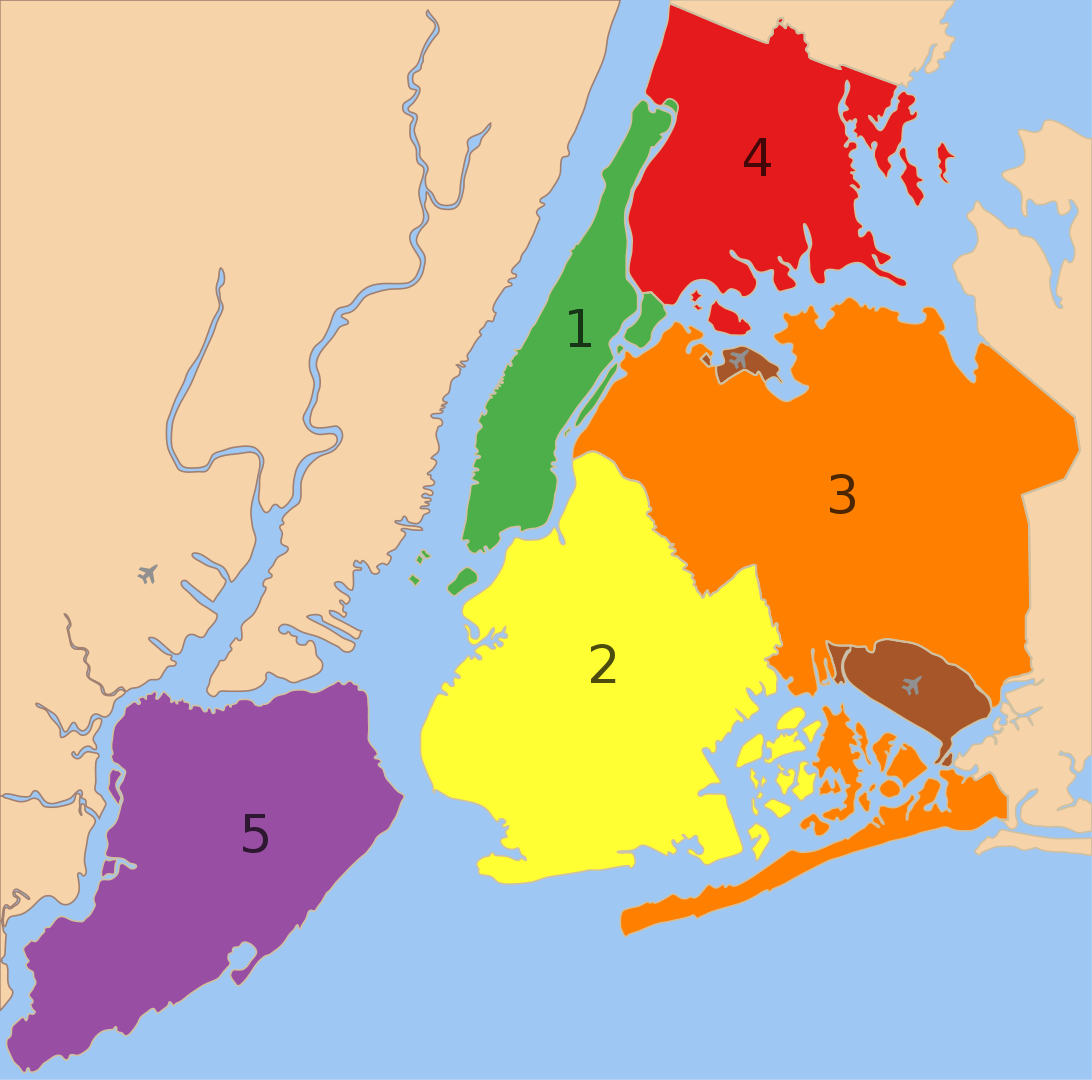 Colored map of the 5 NYC boroughs, Manhattan, Brooklyn, Queens, The Bronx, Staten Island