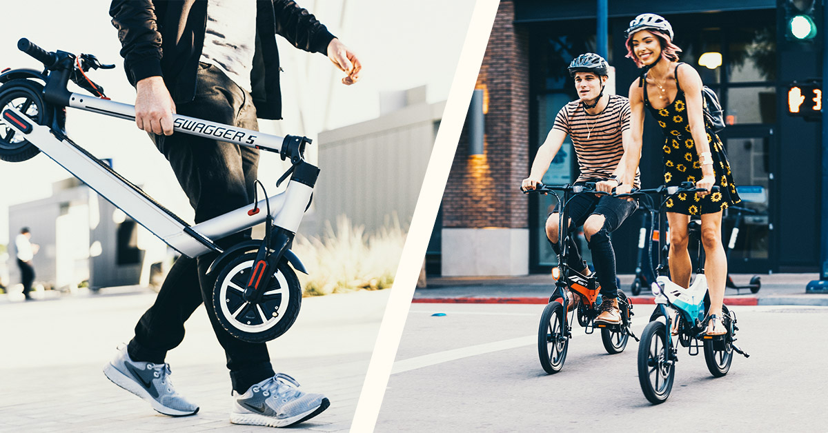 Split image of man carrying a folded Swagger 5 Elite escooter and a happy couple riding their EB7 Elite electric bikes