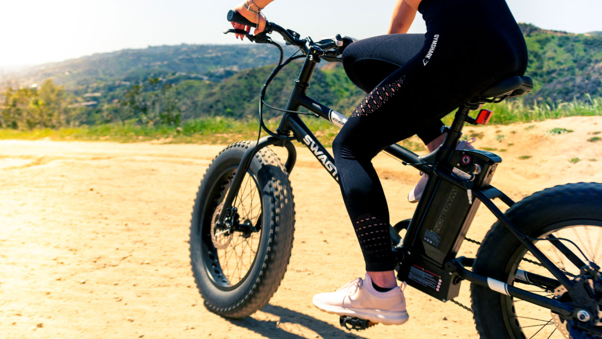 Closeup of woman riding her EB6 eBike at a National Park