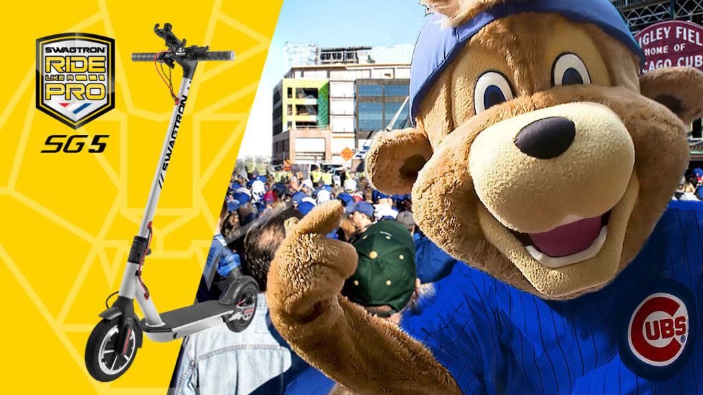 Dual image of Swagger 5 Elite and Clark the Cubs' mascot giving a thumbs-up!