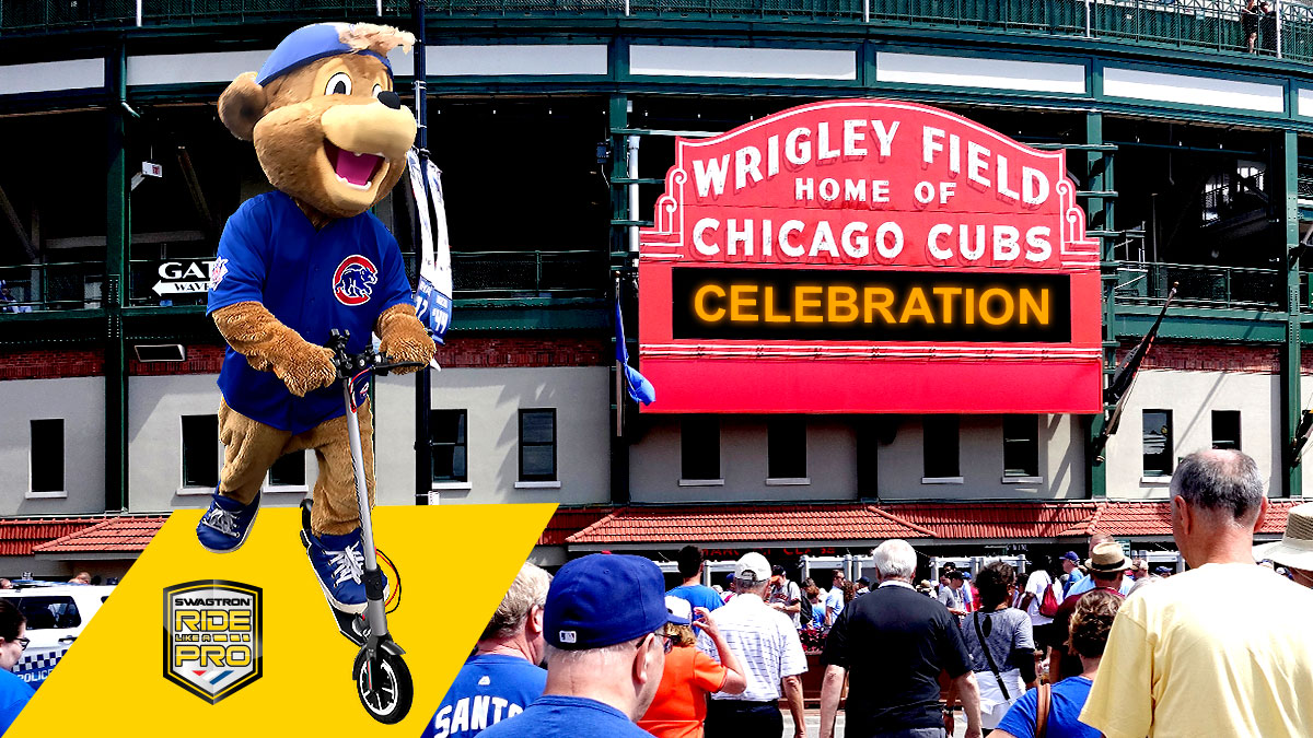 Clark riding the Swagger 5 Elite eScooter in front of Wrigley Field in Chicago, IL.