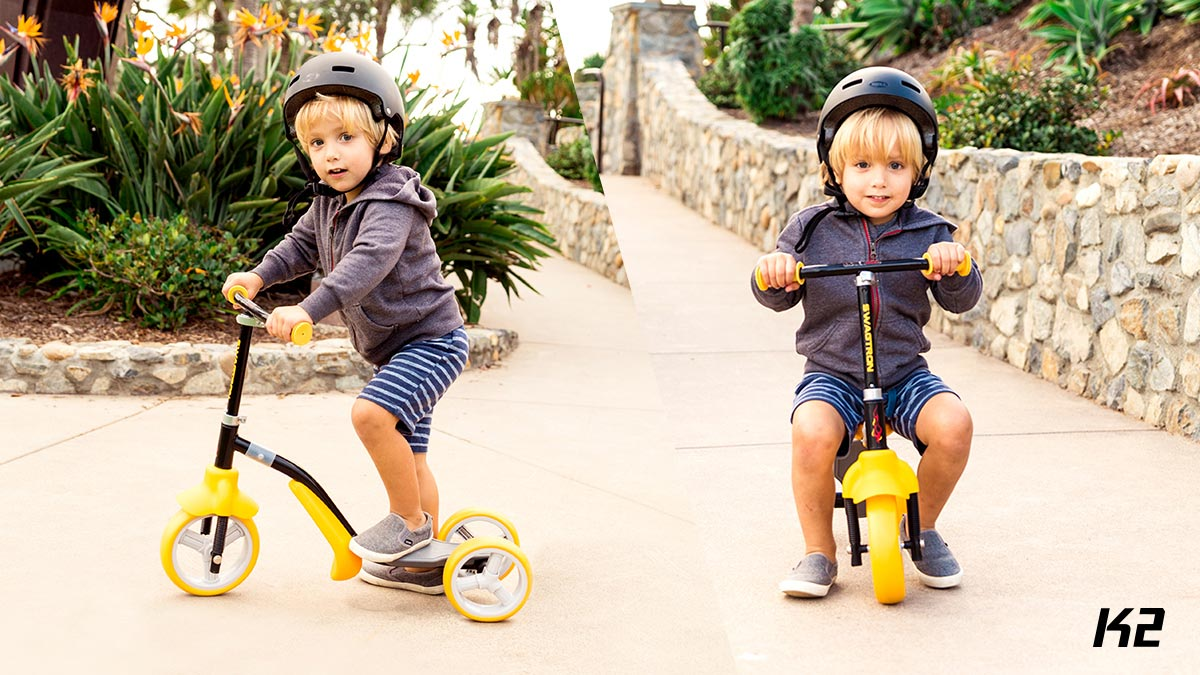 Split screen of smiling kid riding on a K2 toddler scooter.