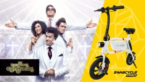 Split screen of the Righteous Gemstones from HBO and the Swagcycle Pro