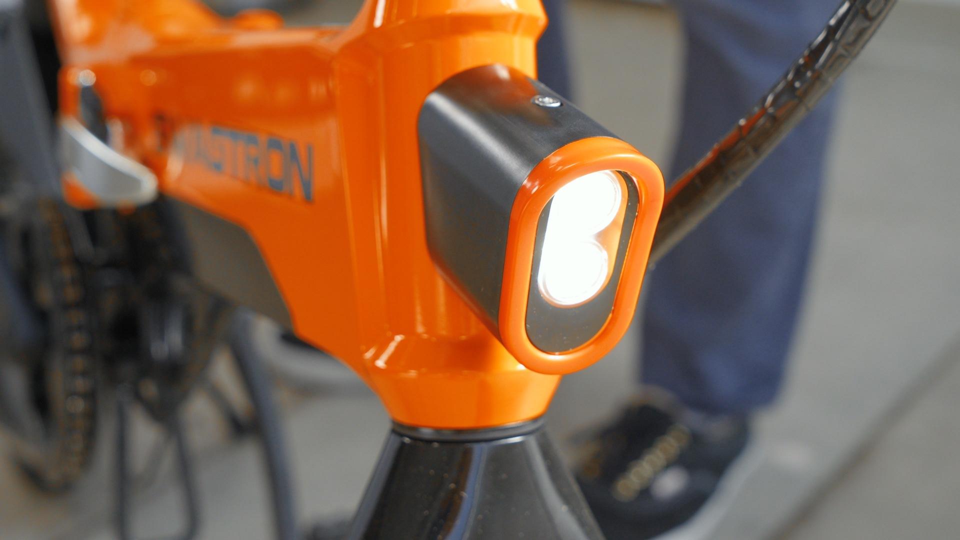 Closeup of the EB7 Plus front headlight.