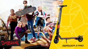 """Split image of the main characters of Netflix's """"Daybreak"""" and the Swagger 3 Pro"""