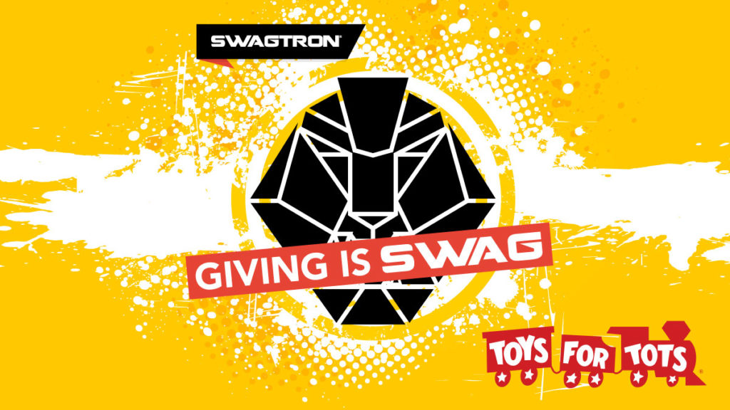 GIVING IS SWAG logo over the Swagtron's official lion logo.