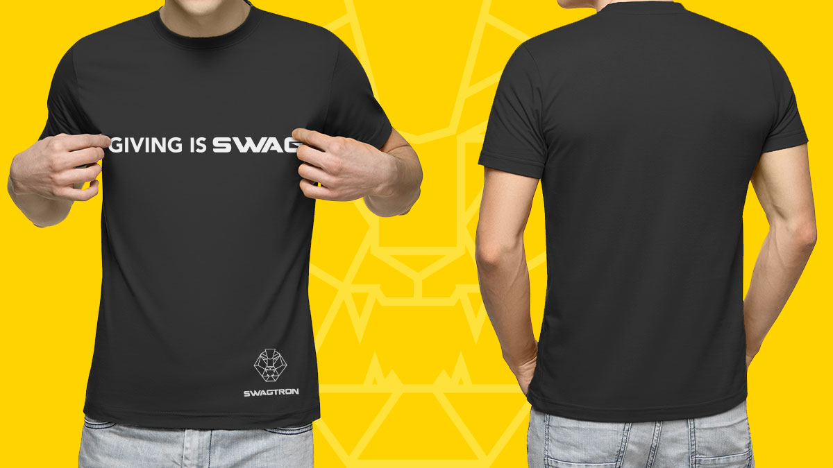 Split image showing a front and back close-up of a man wearing the official GIVING IS SWAG T-shirt, now available