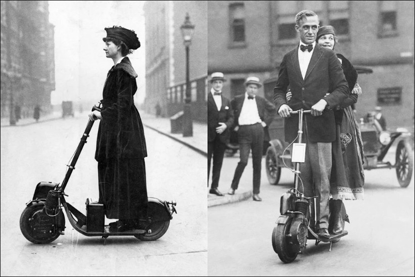 Vintage split-screen image of a woman and a woman Autoped original scooter in the streets of Chicago.