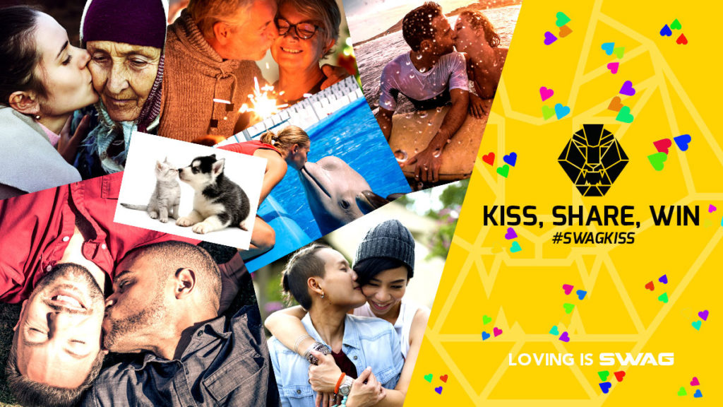 Several images of happy couples -- and a puppy and kitten -- kissing for $2000 V-Day photo contest.