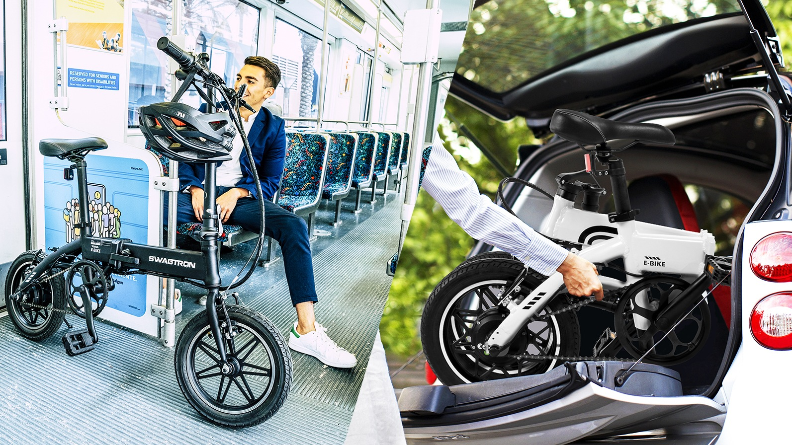 Split-screen image: Man sitting on the bus with his EB5 eBike next to him, and close-up of a folded EB5 being placed in the back of a trunk.