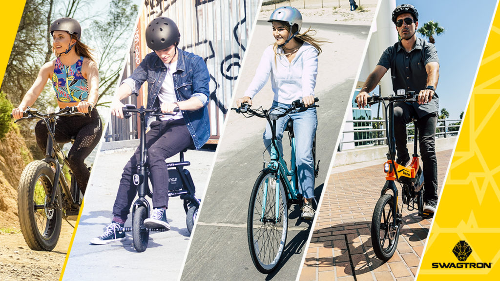 Ebike for the whole family header, featuring a split-view of 4 different SWAGTRON electric bikes