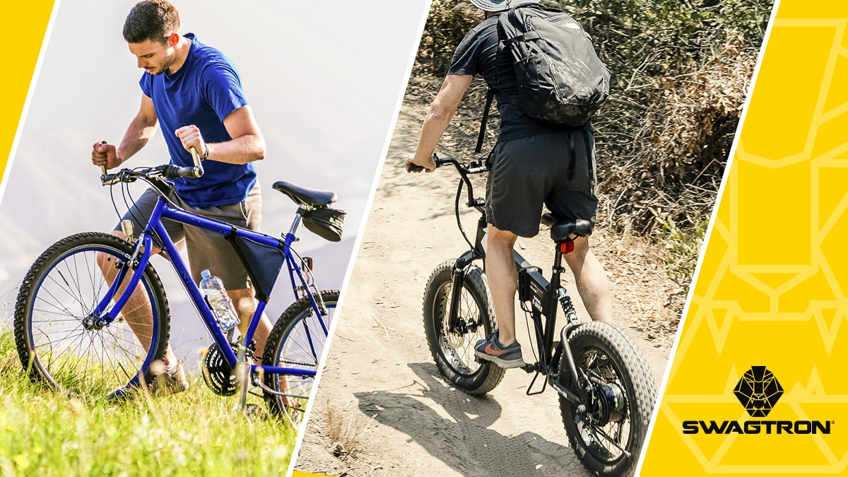 Split screen of two guys riding an eBike; one rides off-road with an EB8 eBike.