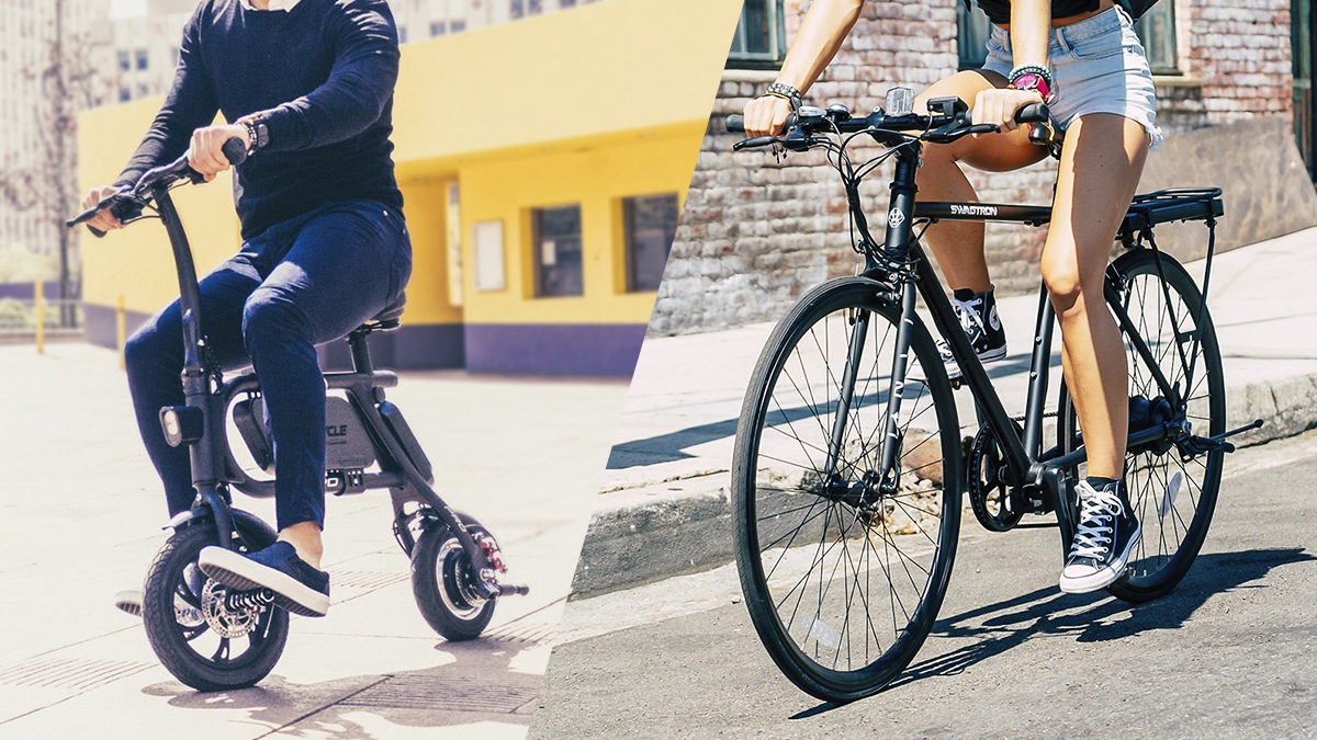 Split image. Left image is close-up of man riding a Swagcycle Pro pedal-free eBike. Right image is close-up of woman riding EB12 eBike.