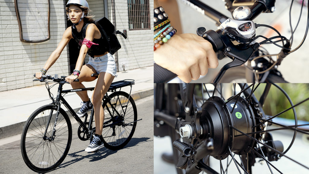 Happy Split-image of a woman wearing a helmet and riding an EB12 Electric Bike, and close-up of the handlebar and Shimano gear system.wearing helmets, riding their electric bikes along the beachside boardwalk.