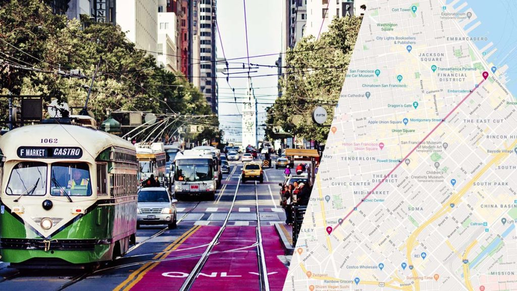 Split image showing the Market Street area (left) and a map of the San Fran indicating the BMSP traffic line.