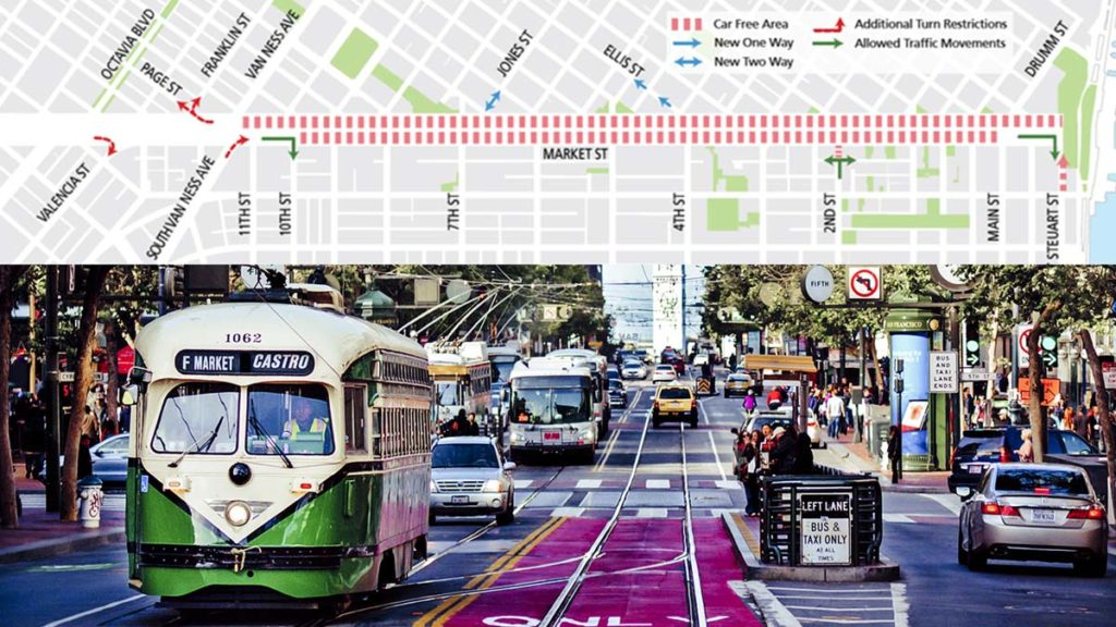 A map of SF's Batter Market Street Project.
