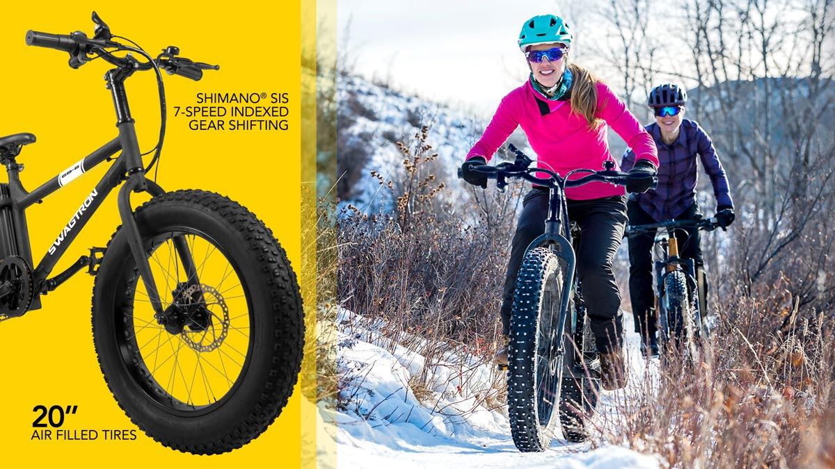 Split screen image, showing the EB6 (left); two women outside in the snow riding their EB6.