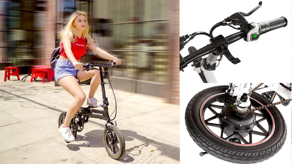 Split screen of woman riding an EB5 Pro Plus electric bike (left), photos of the handlebar and the rear wheel of the EB5 Pro Plus ebike.