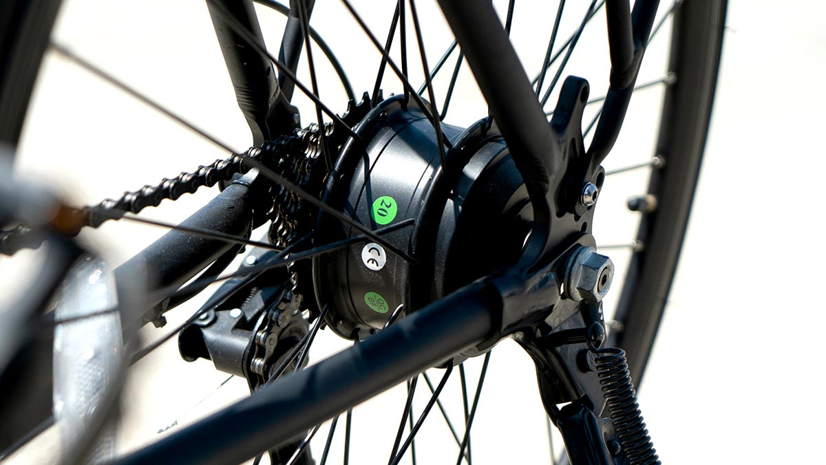 Close-up of a SWAGTRON eBike gear system.