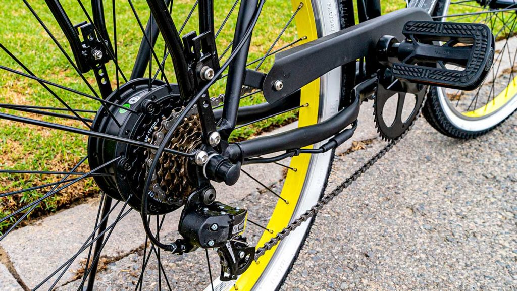 Close-up of the rear wheel and chain of the EB11 Cruiser eBike.